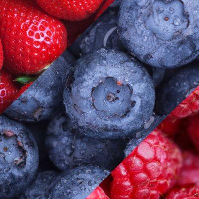 Колаж от ягоди, боровинки и малини