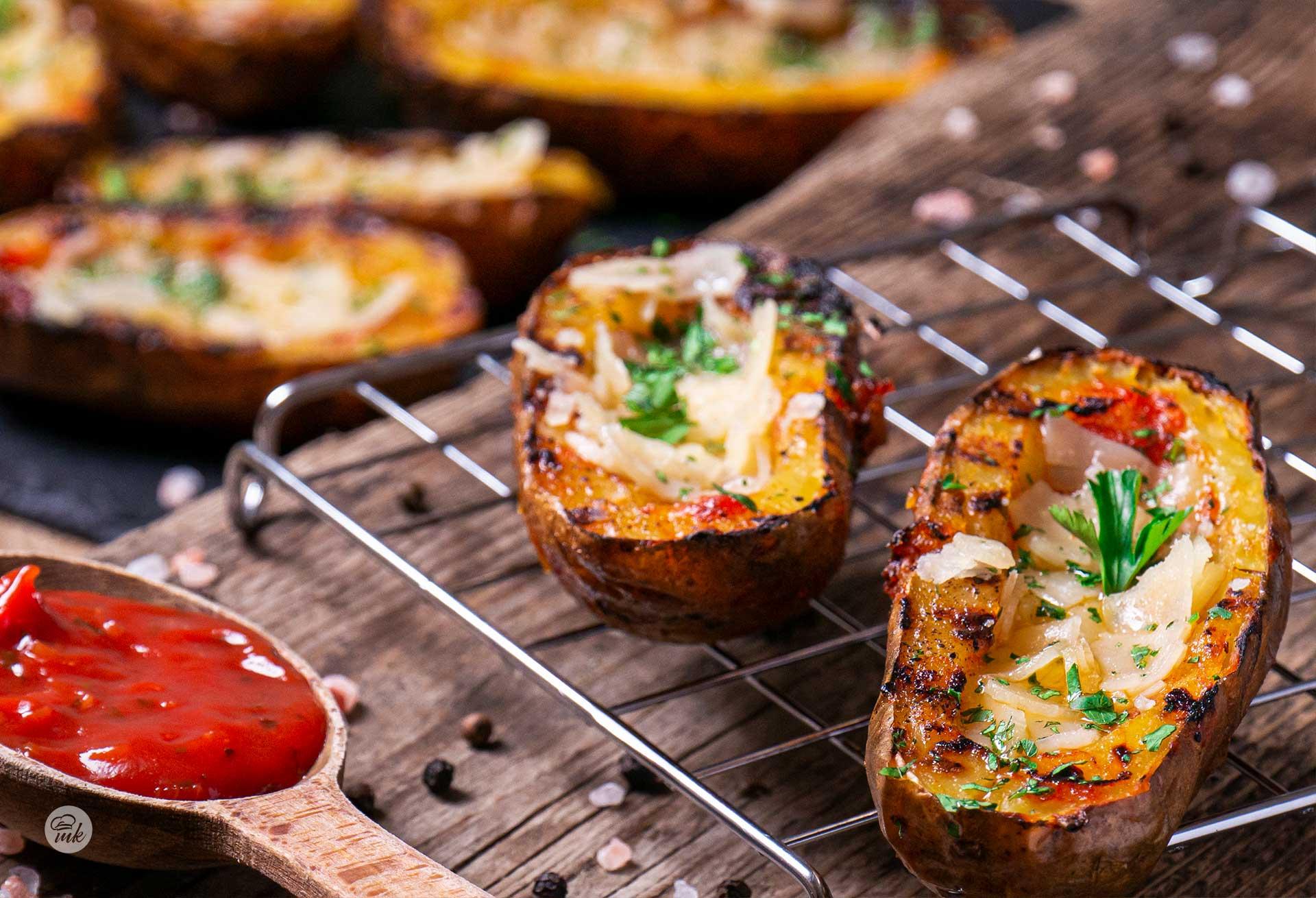 картофени лодки с пармезан на скара