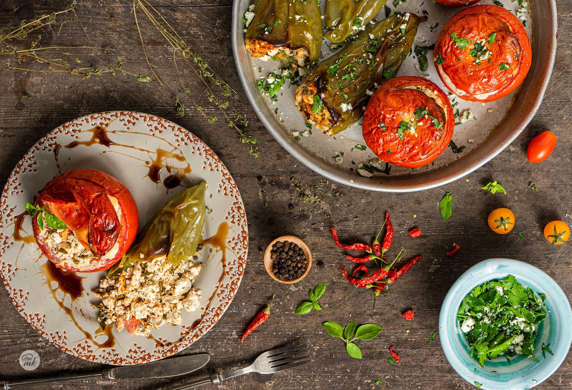 Пълнени чушки и домати