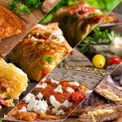 колаж от храна, сърми, солен кекс, кюфтета, пиперки