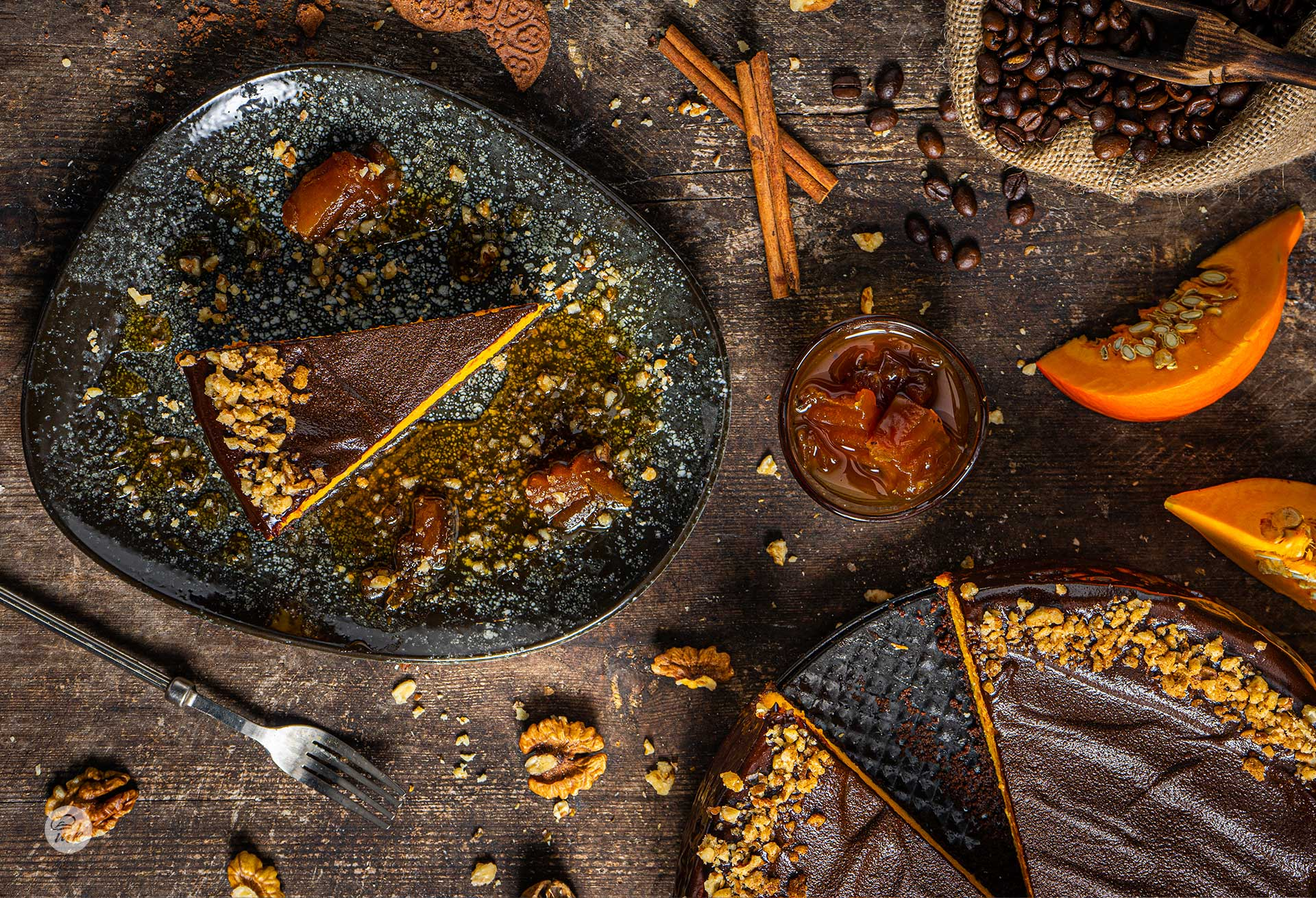 Чийзкейк с кафе, шоколад и тиква