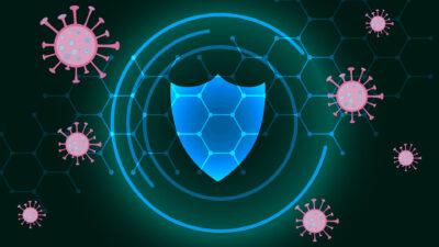 Илюстрация на щит и вируси