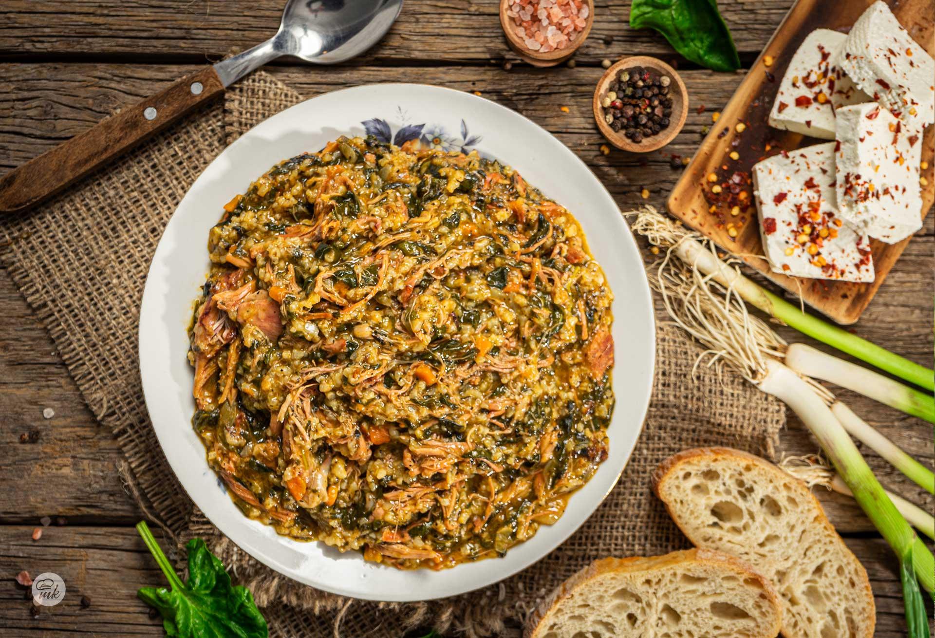 Агнешко със спанак и ориз