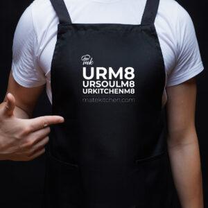 Черна готварска престилка с бяла щампа URM8