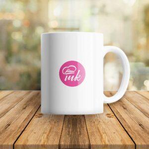 Бяла чаша MK с розова щампа