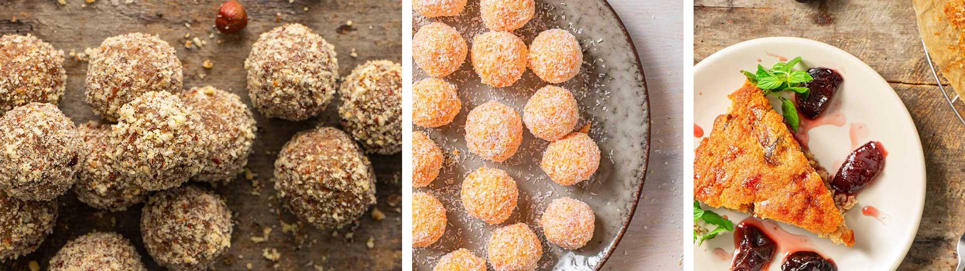 Домашни бонбони от фурми и лешници; трюфели от моркови; постен кекс