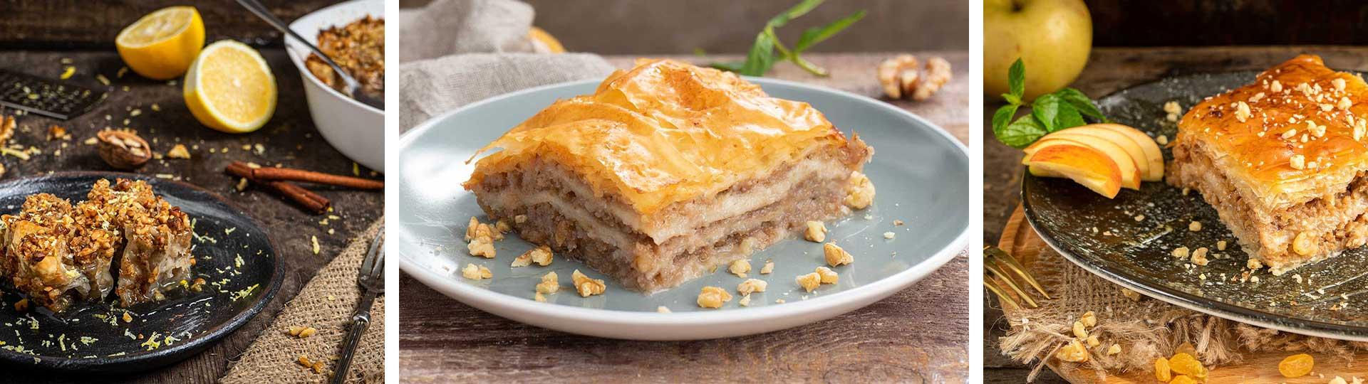 Колаж от 3 рецепти за баклава, гръцка баклава и ябълкова баклава