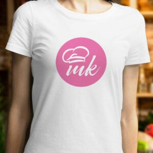Бяла дамска тениска Mate Kitchen с щампа MK