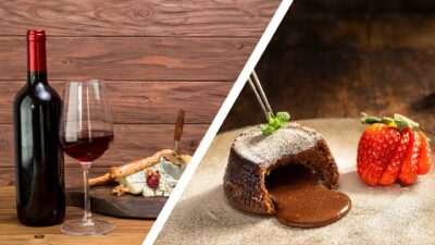 Червено вино и мезета; шоколадово суфле с ягода