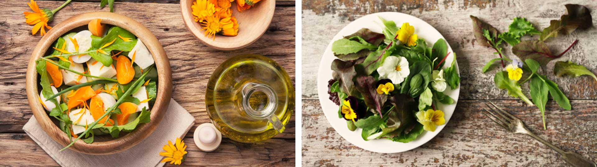 Колаж от две снимки: Салата с цветчета от невен и салата с цветове от теменужка