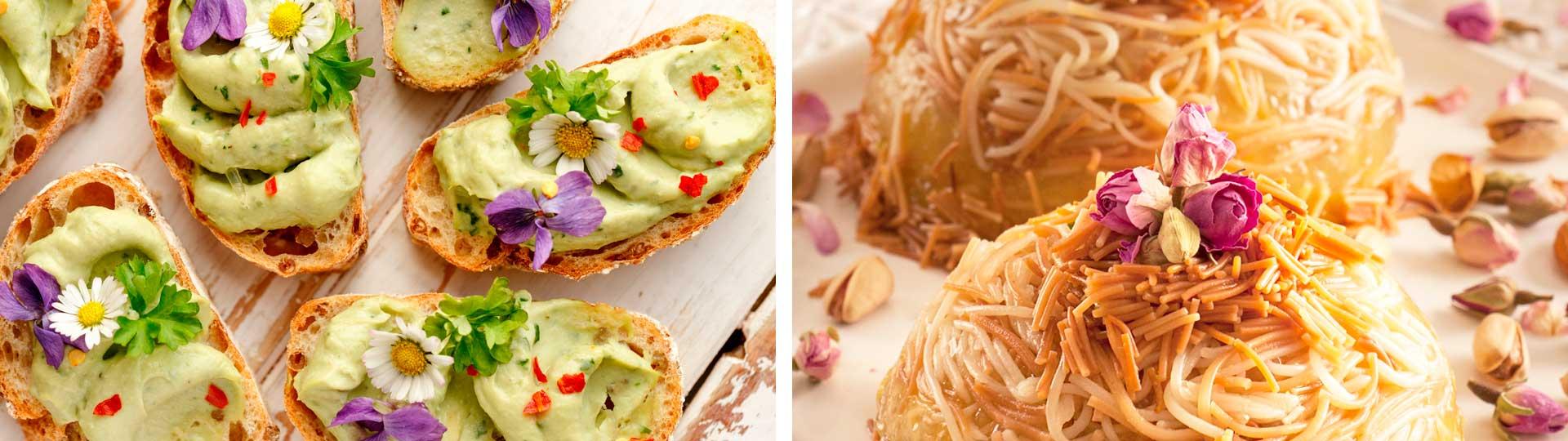 колаж от 2 снимки: Сандвич с авокадо и цветя и десерт с декорация от розов цвят