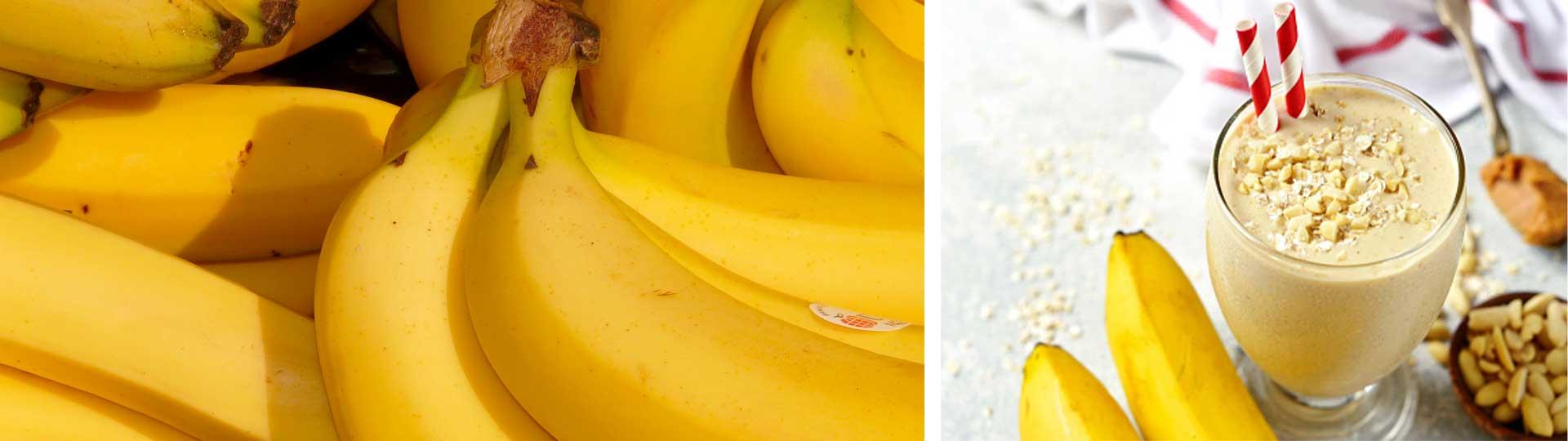 Колаж от две изображения със снимки на банани и бананов шейк с прясно мляко