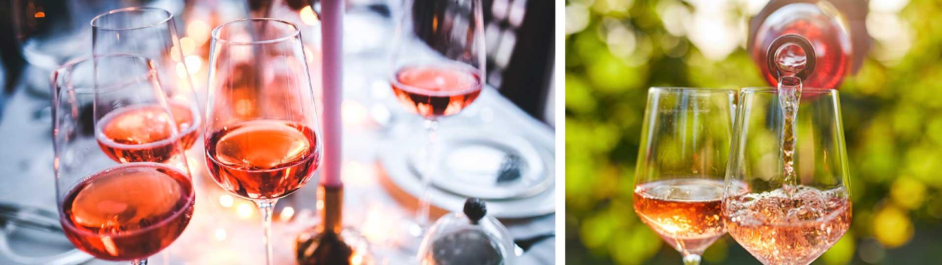 Колаж от две изображения с чаши и бутилки розе