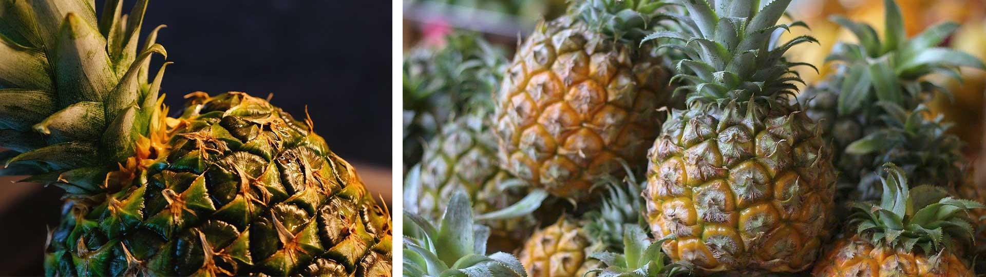 Колаж от две изображения с ананаси