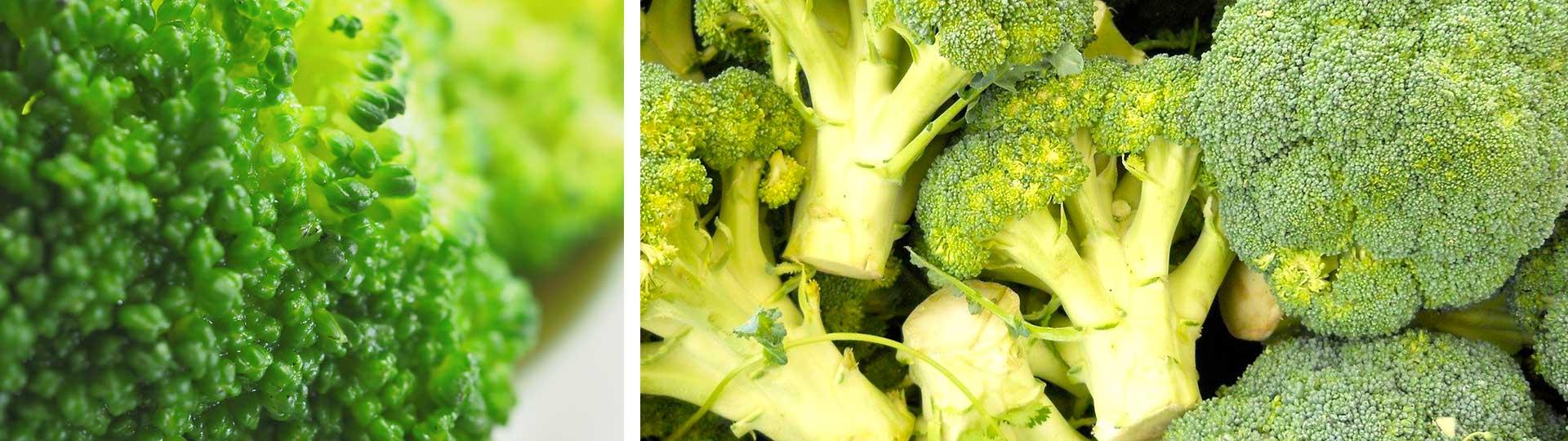 Колаж от две изображения на броколи