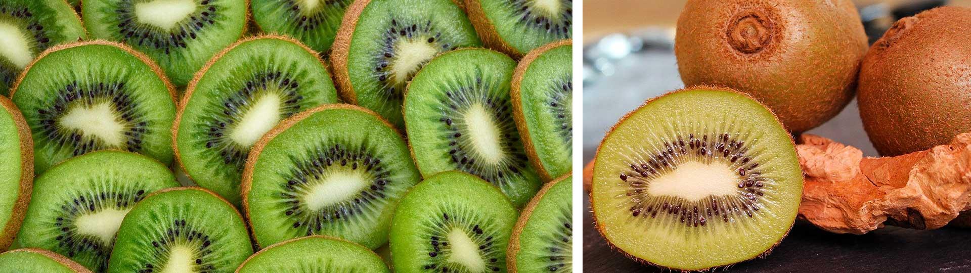 Две изображения с разрязани плодове киви