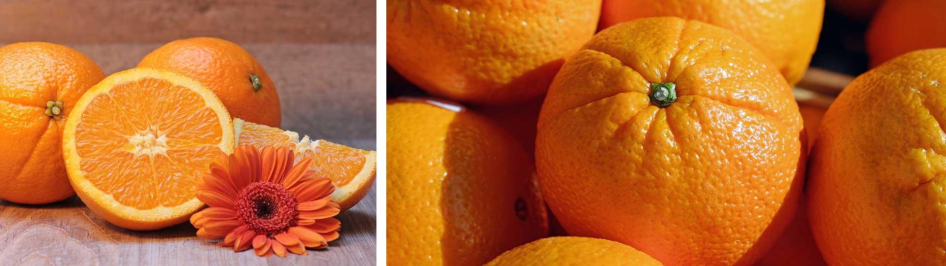 колаж от две изображения с разрязани и цели портокали