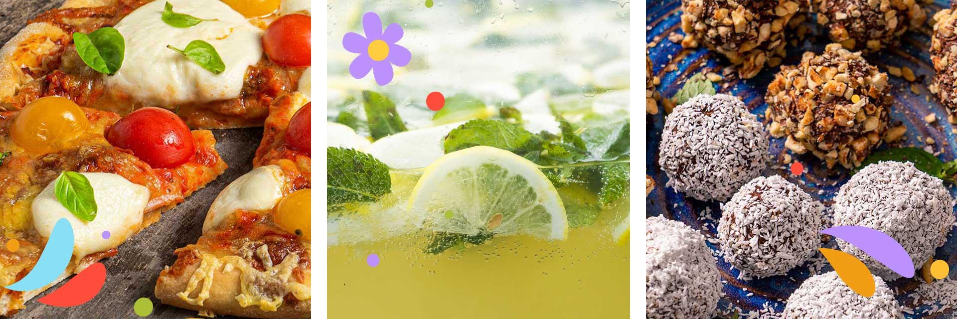Колаж от три изображения - пица, лимонада и сладки