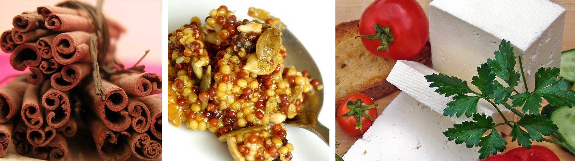 Колаж от три изображения - пръчици канела, зрънца горчица и бяло сирене