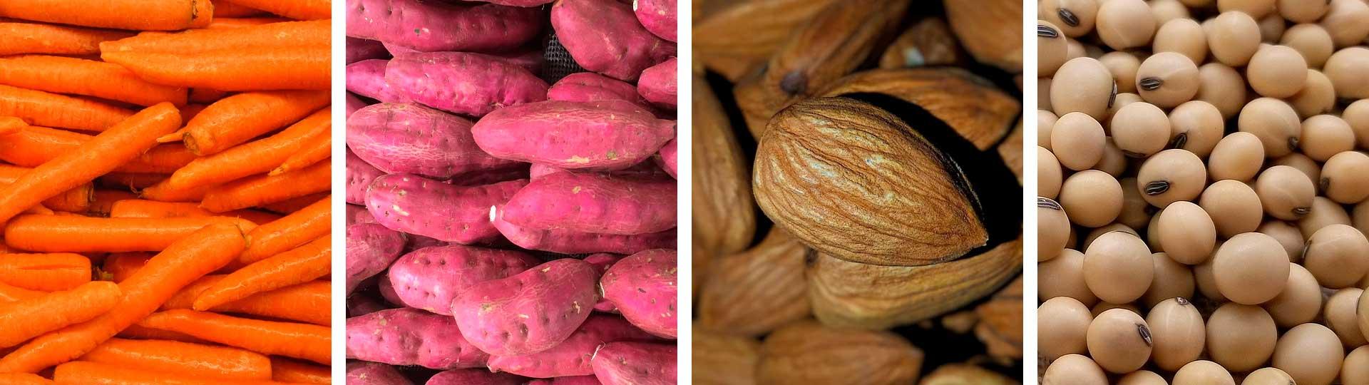 колаж от четири снимки: моркови, сладки картофи, бадеми и соя