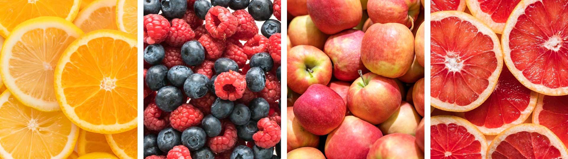 колаж от 4 снимки: портокали, горски плодове, ябълки и грейпфрути