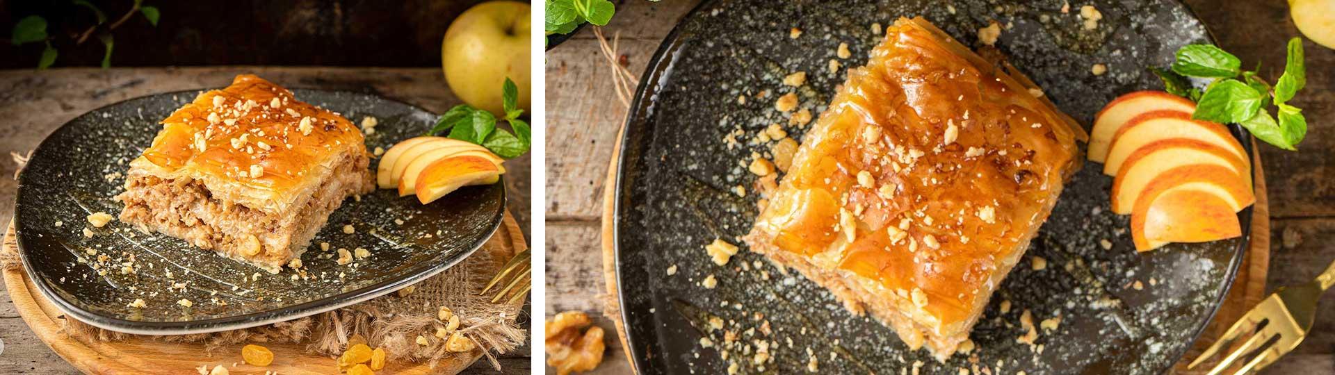 Десерти с вкус на есен: колаж от две снимки на медена ябълкова баклава