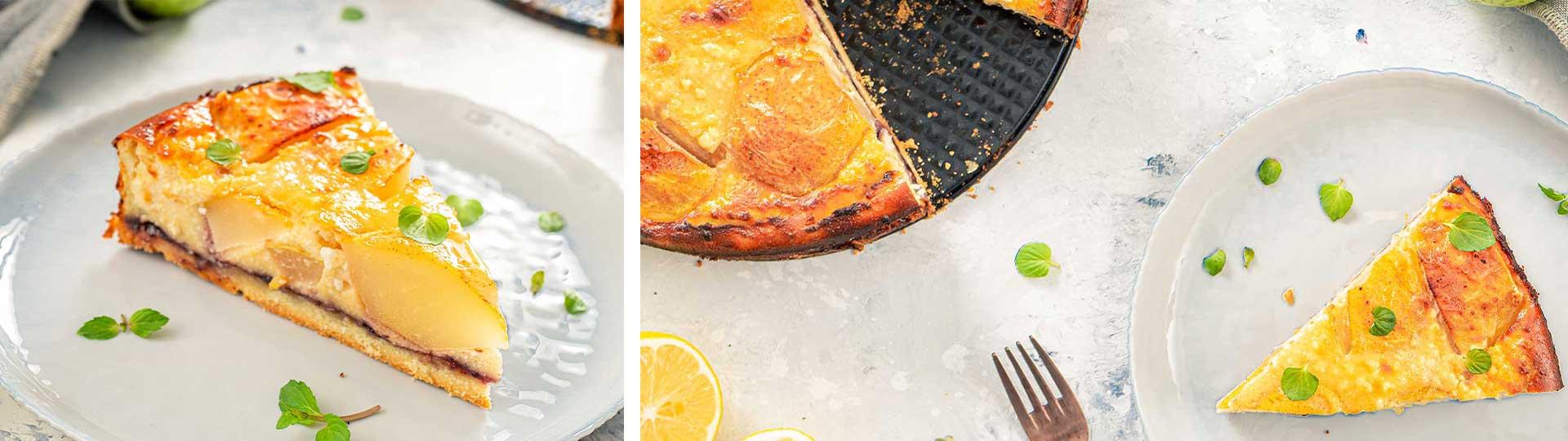 Десерти с вкус на есен: колаж от две снимки на сладкиш с круши и сладко от боровинки