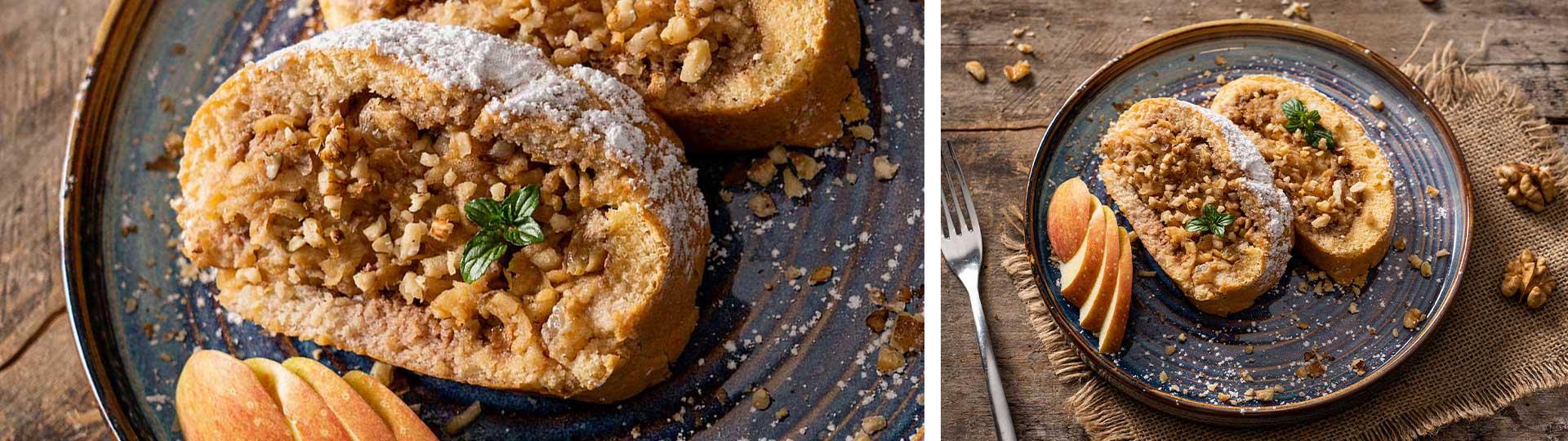 Десерти с вкус на есен: колаж от две снимки на ябълково руло със стафиди и орехи