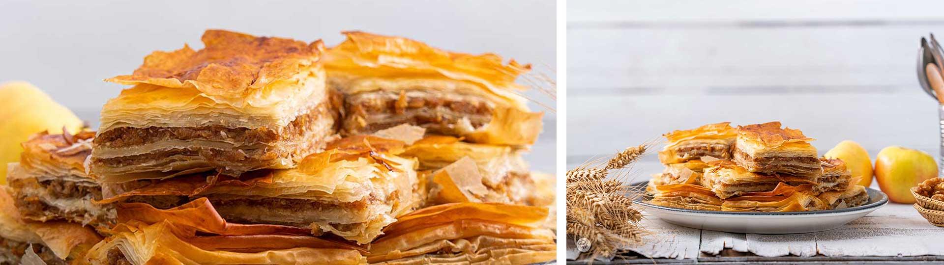 Десерти с вкус на есен: колаж от две снимки на сладка баница със сезонни плодове